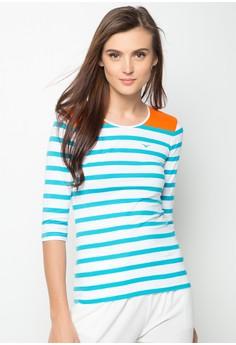 Quarter Sleeves Slim Fit Stripes Tee