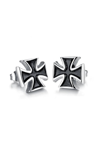 ADORA black Stainless Steel Cross Earrings 62706ACC4EA636GS_1