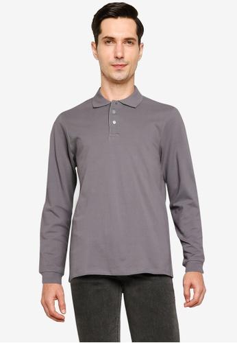 Electro Denim Lab grey Cotton Long Sleeve Polo Shirt D3BCCAAF86F1BFGS_1