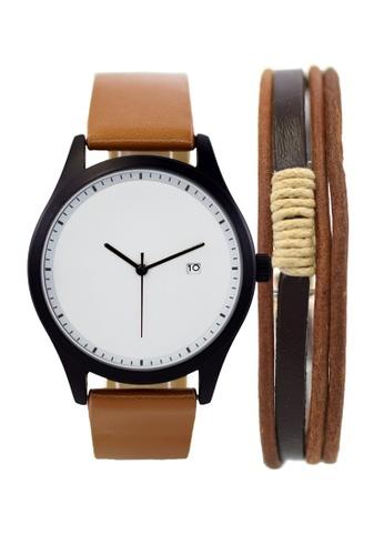 LEUPP brown Aoki Watch And Bracelet Pack C7157AC9AB50C9GS_1