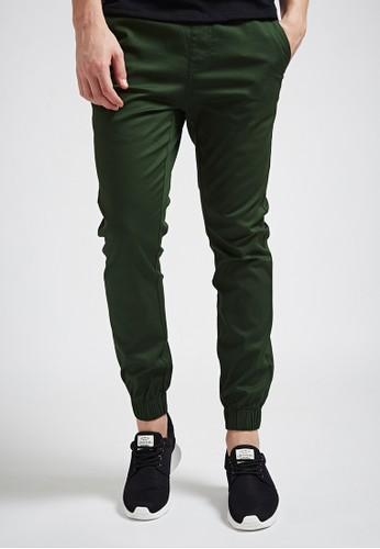 俐落街頭。彈力棉質。白標綁帶縮口長褲-02338-綠色, 服飾, 直esprit旗艦店筒褲