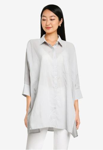 Heather grey Plain Oversized Shirt 53FDDAAC6DDBA3GS_1