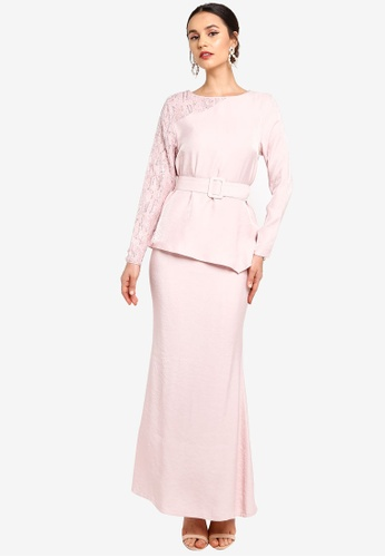 Zalia pink Asymmetrical Gathered Peplum Kurung EFEEDAA198E66AGS_1