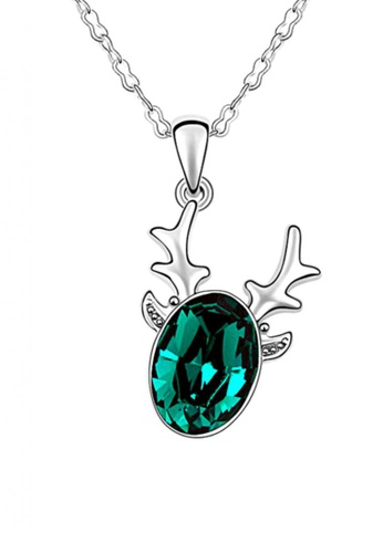 LOVENGIFTS green and silver LOVENGIFTS Glitter Christmas Reindeer Pendant Necklace (Deep Green) LO429AC01BCCMY_1