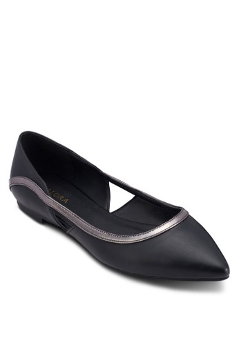 撞色滾邊鏤空尖頭平底鞋,esprit高雄門市 女鞋, 鞋