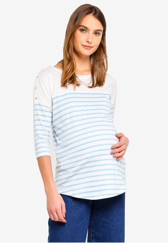 36267ebf76d62 Seraphine blue Jillian Stripe Maternity And Nursing Breton Top  86455AA636A36CGS_1