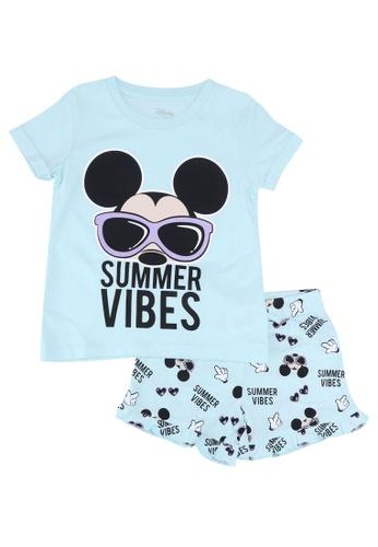 FOX Kids & Baby green Mickey Tee with Printed Shorts Sleep Set 82DF4KA83B1A3CGS_1