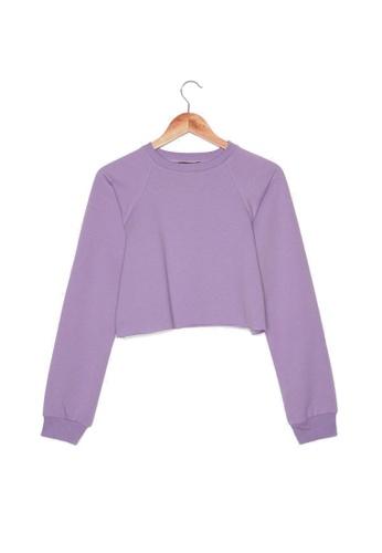 Trendyol purple Crop Lettuce Trim Sweatshirt 18E30AA3E5BBADGS_1