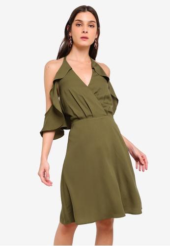 ZALORA green Cold Shoulder Bare Back Fit & Flare Dress F6691AA19B8EFEGS_1