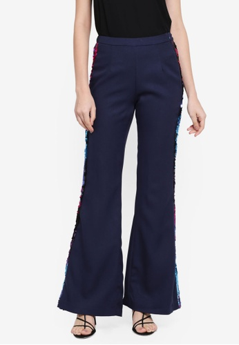 Lubna blue Side Sequin Bell Shape Pants 43422AACFB47C7GS_1