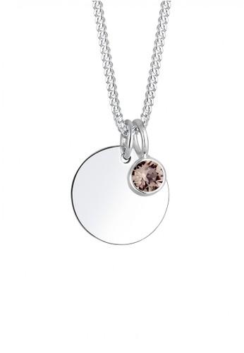 Elli Germany grey Perhiasan Wanita Perak Asli - Silver Kalung Tag dengan Crystal E77E4ACDBA017FGS_1