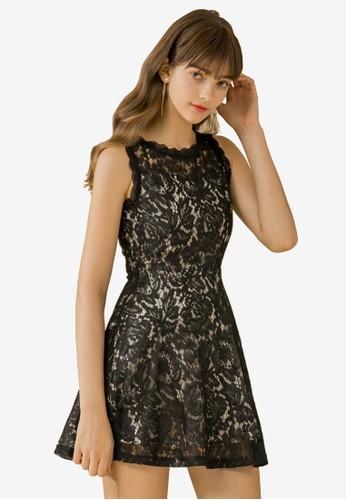 Eyescream black Lace Flare Dress 57F10AAE56A9B6GS_1