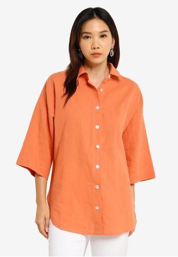 Charlie Holiday orange Harlow Oversize Shirt ED3DFAA2701759GS_1