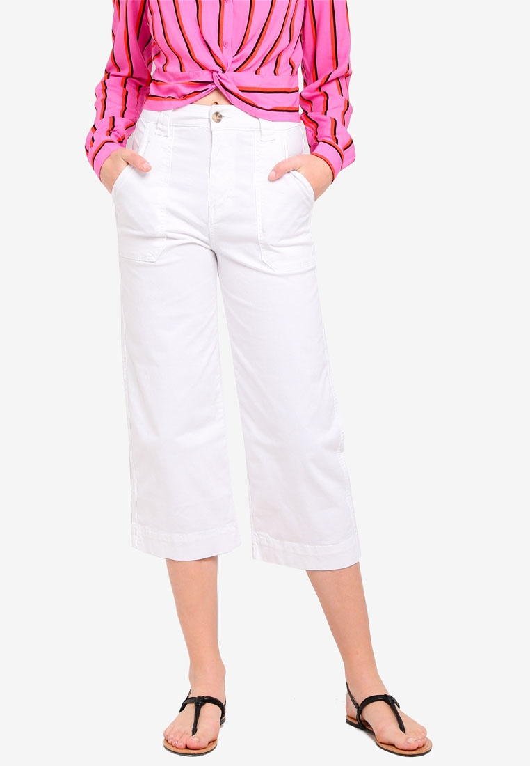 Cotton Chop Pants On Leg White Wide PqgraP