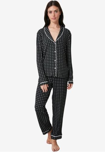 Trendyol navy Printed Knit Pajama Set AAA7BAADADEB34GS_1
