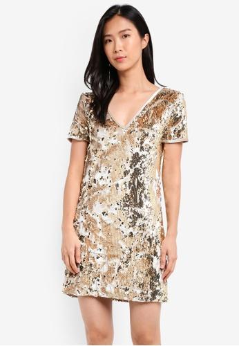 Miss Selfridge 銀色 Gold Sequin Velour T-Shirt Dress MI665AA0SISIMY_1