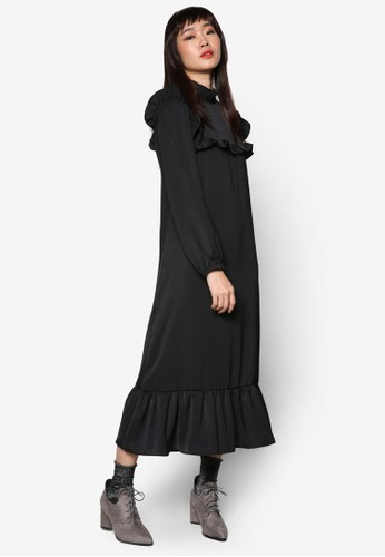 荷葉邊飾長袖連身長zalora 折扣碼裙, 服飾, 洋裝