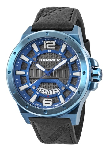 HUMMER blue Hummer 3H Black Leather Strap Blue Case Gents Watch HM1007-1845 6CB3CACB75717CGS_1