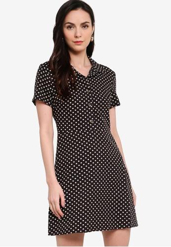 ZALORA WORK black and multi Half Placket Mini Shirt Dress 89E93AADF1CCF4GS_1