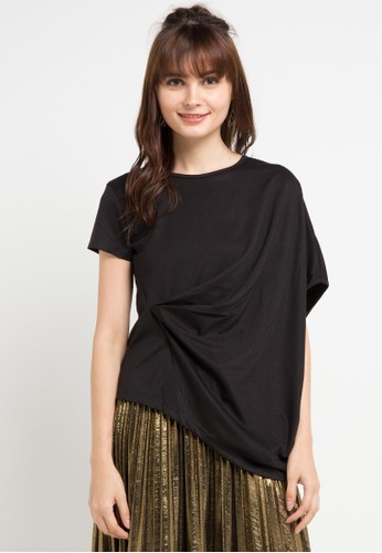 Uptown Girl black Side Pleated Blouse D5C8EAA55B3389GS_1
