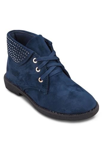 反折鉚釘仿麂皮踝esprit hong kong靴, 女鞋, 靴子