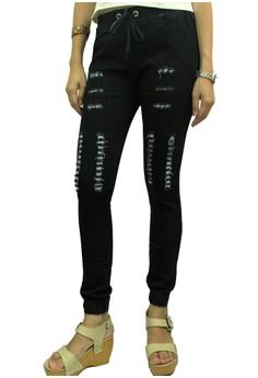 JJ Women's Ripped Jogger Denim Pants