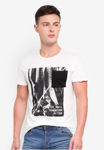 OVS 白色 棉 T恤 With 印花口袋 7A12FAA466D206GS_1