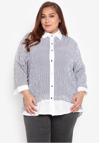 0401ea5a534 Shop Maldita X Plus Size Carlize Color Blocking Buttondown Shirt Online on ZALORA  Philippines