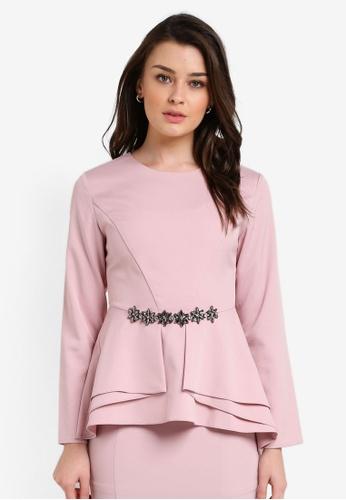 Zalia pink Embellished Peplum Top 4FC1DAA5F68C9AGS_1