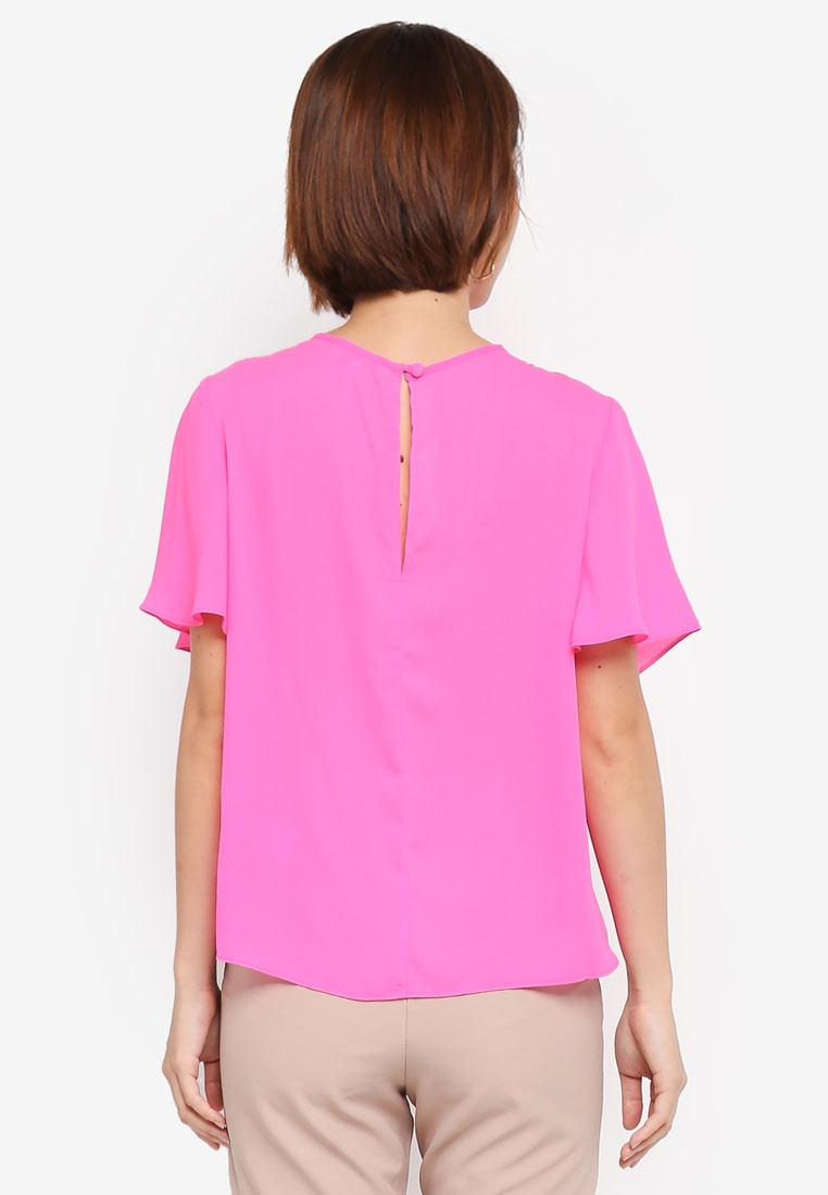 Flared Sleeve Bright WAREHOUSE Tee Angel Pink AWc5y0WqFw