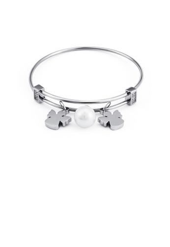 Glamorousky white Fashion and Elegant Angel Imitation Pearl 316L Stainless Steel Bangle 82F63AC0079AA9GS_1
