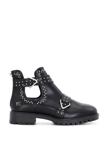 RAG & CO black Black Cutout Ankle Boots with Strap RCSH1745 4802CSHB50420FGS_1