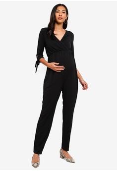 9a750c36b6a5d Dorothy Perkins black Maternity Black Tie Sleeve Jumpsuit 588F7AA0E732B9GS_1