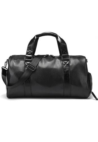 Lara black Plain Zipper Drum Bag With Cross Body Strap - Black E8D3CAC33093DBGS_1