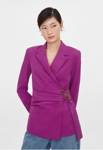 Pomelo purple Side Wrap Buckle Belt Blazer - Purple 61E36AA80D9F9BGS_1