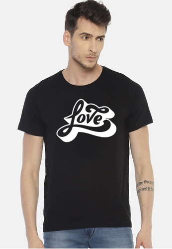 Greatvalueplus black Love Men's Round Neck Statement T-Shirt AE25DAA7147DE2GS_1
