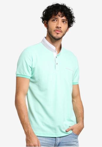 JAXON green Grandad Collar Polo Shirt 84083AA09BDA8EGS_1