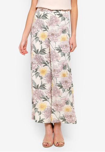 FORCAST pink and multi Rosie Printed Culottes EA271AABDB656CGS_1