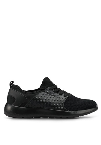 Brave Soul black Textured Trainers DD735SHB6ED344GS_1