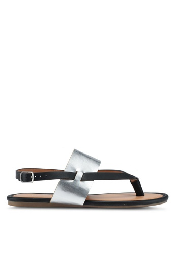 Dorothy Perkins black and silver Black Future Sandals 776D5SH143930AGS_1