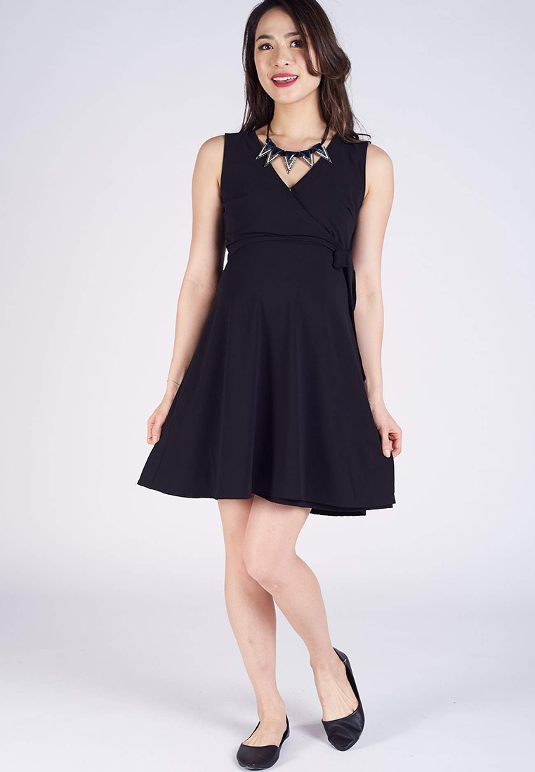 f46ff6ccd1b6e ... Dress Wrap Nursing Sleeveless Black Corazon MOTHERCOT EPwtq6x6g ...