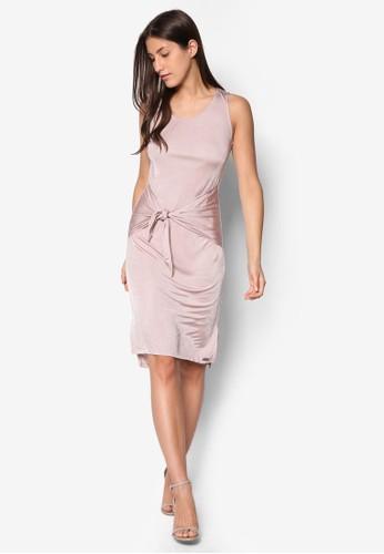 繫帶飾側開叉背心連身裙,zalora 衣服評價 服飾, 洋裝