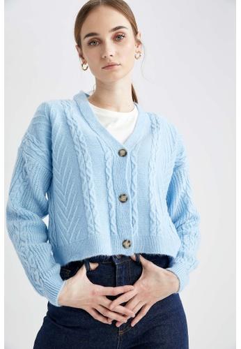 DeFacto blue Long Sleeve Crop Cardigan C871DAA1E39494GS_1