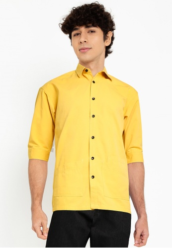 Fidelio yellow Hype Plain Mid-Sleeves Shirt E6EFAAA9481366GS_1