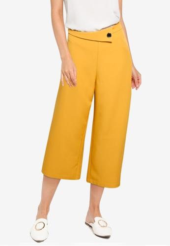 ZALORA WORK yellow Button Detail Wide Leg Pants 44BAAAA498821FGS_1