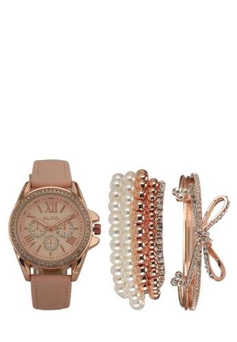 ALDO pink Fossatillo Watch And Bracelet Set E45CAAC84AA245GS_1