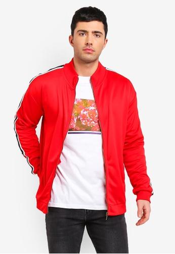 Cotton On 紅色 條紋拉鍊外套 F3908AA22FBF99GS_1