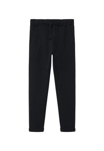 MANGO KIDS black Cotton Drawstring Trousers 508FFKAA045F03GS_1