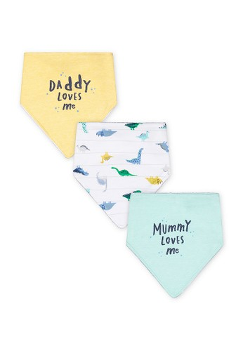 Mothercare blue Mothercare - mummy and daddy dinosaur bibs - 3 pack 85F0DKA20F2551GS_1
