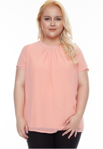 Paperdolls pink Milly Plus Size Remi Pleated Neckline with Embelishment 21F3EAAAF12278GS_1